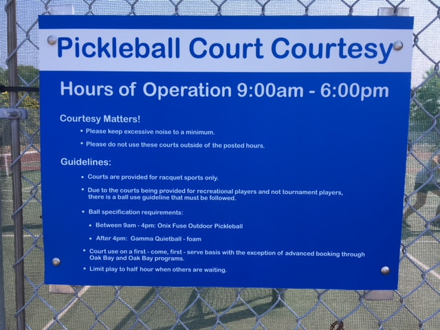 Oak Bay pickleball signage